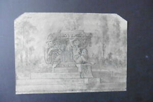 FRENCH SCHOOL 18thC - ARCHITECTURAL ELEMENT IN LANDSCAPE - INK CIRCLE PRUD'HON