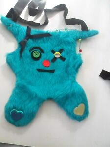 monster cute faux furry shoulder bag  with zip clubwear