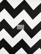 "WATERPROOF CHEVRON ZIG ZAG CANVAS OUTDOOR FABRIC Black White 60"" Wide AWNING"