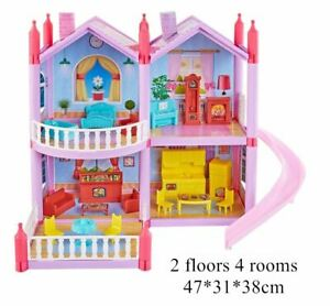 DIY Princess Doll House Dolls Accessories Toy With Miniature Furniture Pink