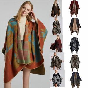 Luxury Celeb Cashmere Like Poncho Blanket Wrap Shawl Cape Stripe Scarf Big Warm