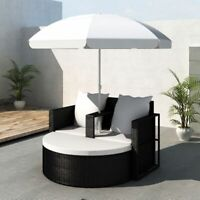 vidaXL Lounge Set Poly Rattan Black Sunbed Parasol Garden Outdoor Umbrella
