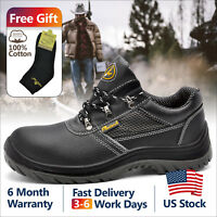 Safetoe Mens Safety Work Shoes Steel Toe Black Breathable Leather Summer L-7222