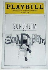 Sondheim On Sondheim Opening Night Broadway Playbill - Barbara Cook, Tom Wopat