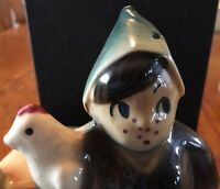 "Vintage Shawnee Pottery boy & chicken ceramic planter USA 645 6.5"" X 5"""