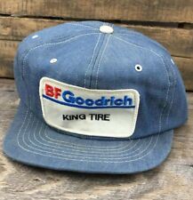 VTG BF Goodrich Tire Patch Denim Snapback Trucker Hat Cap Swingster USA Made R