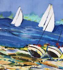 François D'ARGUIN 1946.Le départ.Lithographie.SBD.49x43.7/250.Titré au dos.
