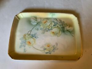 Vintage German Porcelain Dresser Tray White Yellow Roses