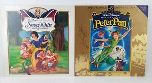 Lot of 2 Laserdisc Walt Disney Snow White And The Seven Dwarfs & Peter Pan