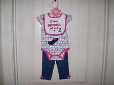 BABY GEAR GIRLS 4 PC. LET YOUR DREAMS SET SAIL GIRLS LAYETTE SET 9/12 MONTHS