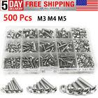 500pcs Stainless Steel Hex Socket Cap Head Bolts Screws Nuts M3 M4 M5 304 Kit