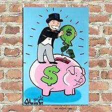 Alec Monopoly Oil Saving Money to pigs Art Gift Wall Decor Poster, no Framed