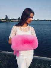 Pink Arctic Fox Fur Hand Muff With Pocket Inside. Could Be Using Like a Purse!