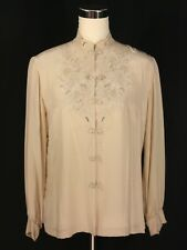 VINTAGE Beige Silk Floral Embroidered Asian Blouse w Frog Closure - Med - Peony