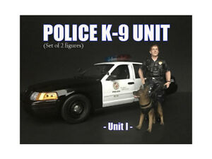 POLICE OFFICER FIGURE I W/ K9 DOG FOR 1/24 SCALE MODELS AMERICAN DIORAMA 38263