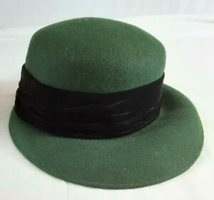 Liberty Womens Hat. Green With Black Velvet Band. One Size.