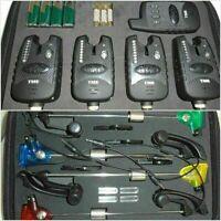 4 x Wireless Fishing bite alarms,receiver, illuminated Indicators, Running LED's
