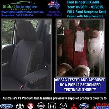 Ford Ranger PX MkI Front Neoprene Car Seat Covers XL XLS XLT WILDTRAK - AIRBAG