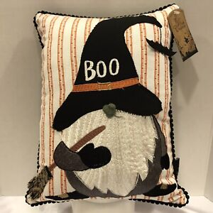 Halloween Gnome Throw Pillow Witch Broom Bats Bedding Spooky Holiday Home NEW