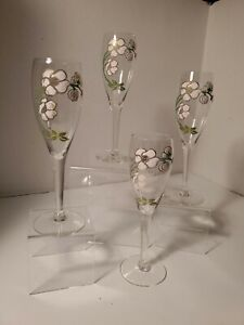 Set (s) of 4 Pierre Jouet France Champagne Glasses Pink dogwood Flowers. A-7