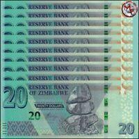 Zimbabwe - 20 Dollars 2020 - Pick- NEW - Set 10 PCS - UNC