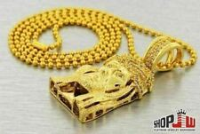 14k Gold Plated Simulated Diamond Jesus Piece Chain Set