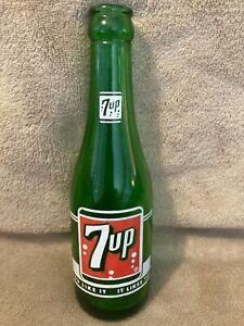 "Vintage 7Up Soda Bottle Seven Up Green Glass Bottle 7 oz ""You Like It"""
