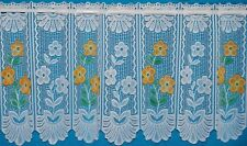 CAFE NET CURTAIN BLOOM WHITE WITH ORANGE FLOWERS IN PANELS BY THE METRE TWO SIZE