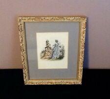 Jules David Antique Fashion Print w/ Gold Toned Gilded Picture Frame