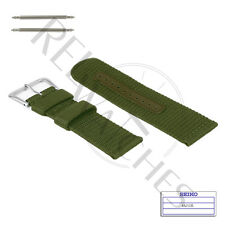 Genuine SEIKO 4A212JL 22mm Green Nylon Band + Pins | SNZG09 Military Watch Strap