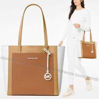 NWT 🌼 Michael Kors Leather Gemma Large Pocket Tote Acorn Butternut Brown Beige