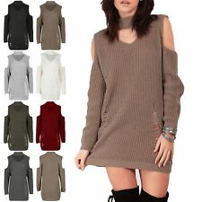 Women Chunky Knit Choker Neck Ladies Cold Shoulder Destroyed Ripped Jumper Dress