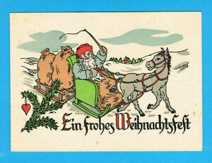 """Grußkarte Weihnachten """"Weihnachtsmann Blauer Mantel Pferdeschlitten"""""""