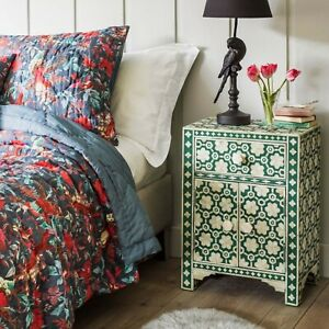 Bone Inlay Bedside table Green Floral (MADE TO ORDER)