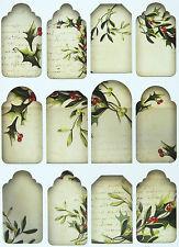 A/4 Scrapbook Paper  Gift & Hang Single Sheet 12 Tags Christmas Mistletoe