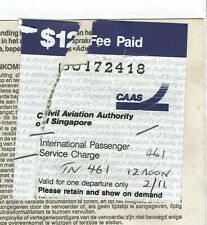Singapore doc with Revenue Stamp Fiscal Fiscaux Airport Passenger Service $12 Fe