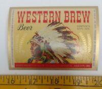 Western Brew Beer label Sioux City, Iowa