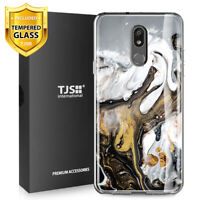 For LG Stylo 5, 5V, 5+ Plus, Phone Case TJS Juno Gold Marble +Tempered Glass