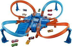 Hot Wheels Criss Cross Crash Motorized Track Set, 4 High Speed Crash Zones, 4-Wa