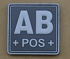 "PVC / Rubber Patch ""Blood type AB POS + Black"" with VELCRO® brand hook"