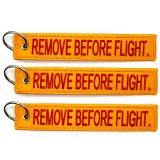 3 Pack Remove Before Flight Key Chain Yellow & Red aviation motorcycle pilot
