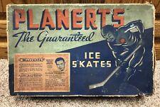 "Vintage 1940s Planerts Ice Skate Box Chicago Blackhawks ""Mush"" March Rare Hockey"
