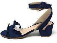 Isaac Mizrahi Women's Maisy Heeled Ankle Strap Dress Sandal Dark Blue Suede 9