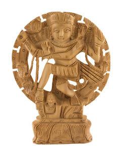 Statue de Shiva Nataraja Dansante en Bois Sculpté Artisanat Fait main Inde 4734