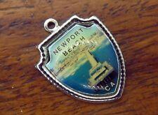 Vintage silver California State Newport Beach Souvenir Travel Shield charm #E6
