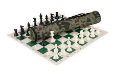 Quiver Chess Set Combination - Triple Weighted - Jungle Camo Bag / Green Board