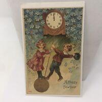 Vintage Postcard A Happy New Year Kids Swinging Clock Blue Flowers