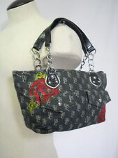 Womens Duckhead Baguette Handbag Purse-Black with Roses