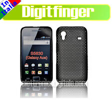 Nuova CUSTODIA Back Cover GRID Case plastica NERA per SAMSUNG S5830 GALAXY ACE