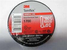 "QTY10 3M 1700 TEMFLEX BLACK 3/4"" 60FT EA VINYL ELECTRICAL TAPE 10 ROLLS FRESH"